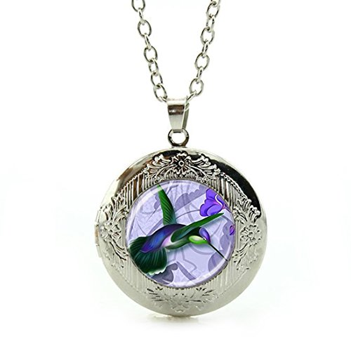 (Women's Custom Locket Closure Pendant Necklace Fashion Art Bird Hummingbird Animal Purple Included Free Silver Chain, Best Gift Set)