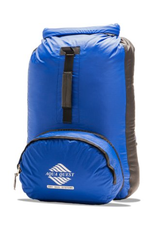 Aqua-Quest `The Himal' Waterproof Ultra Light Backpack Dry Bag – 20L / 1200 cu. in. Blue and Black Model, Outdoor Stuffs