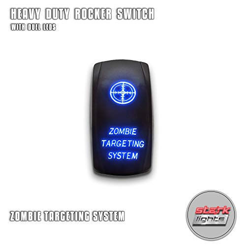 (ZOMBIE TARGETING SYSTEM - Blue - STARK 5-PIN Laser Etched LED Rocker Switch Dual Light - 20A 12V ON/OFF )