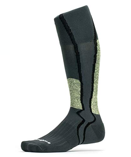 Swiftwick- HOCKEY TWELVE | Cut-Resistant Hockey Socks | Moisture Wicking, Compression Socks with Sweat Channel | Gray, Medium ()