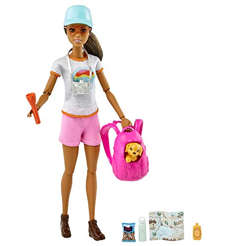 Barbie Hiking Doll, Brunette, with Puppy & 9 Accessories, Including Backpack Pet Carrier, Map, Camera & More, Gift for Kids 3 to 7 Years Old