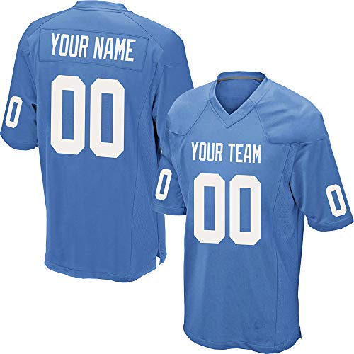 (Custom Men's Powder Blue Mesh Football Game Jersey Stitched Team Name and Your Numbers,All White Size 2XL)