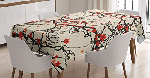 Ambesonne Japanese Tablecloth, Asian Nature Cherry Blossom Sakura Branch Flowers Art Print, Dining Room Kitchen Rectangular Table Cover, 60 X 90 Inches, Cream Vermilion and Dark Brown (Nature Table)