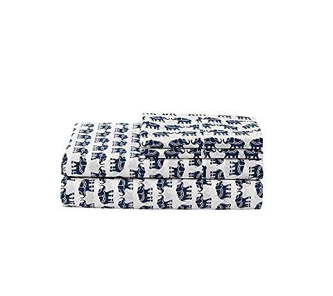 LivingQuarters 225-Thread Count Cotton Percale Elephant Sheet Set Standard Pillowcase Pair