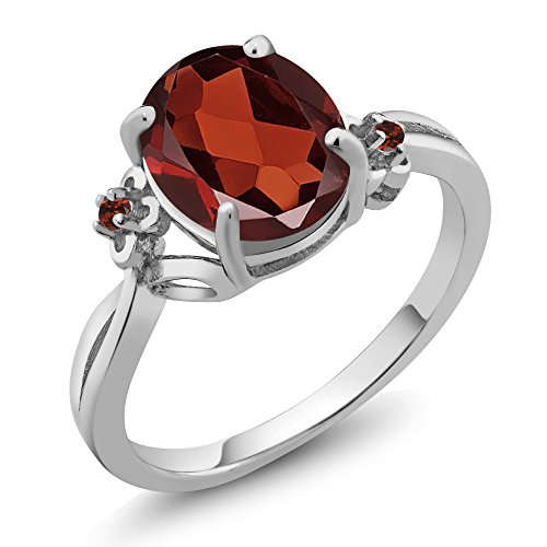 2.87 Ct Oval Red Garnet 14K White Gold Ring (Ring Size 8) by Gem Stone King