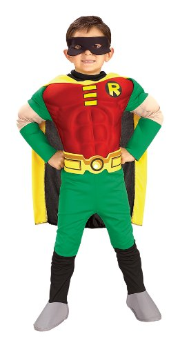 [Rubies DC Comics Teen Titans Deluxe Muscle Chest Robin Costume, Toddler] (Kids Batman And Robin Costumes)