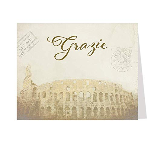 Grazie Thank You Cards Bridal Wedding Shower Colosseum Rome Italy Passport Stamps Honeymoon Travel Adventure Awaits That's Amore Brown Chocolate Tan Vintage (50 Count) (Italian Thank You Cards)