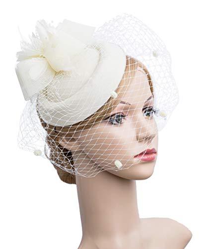 Cizoe Fascinator Hair Clip Pillbox Hat Bowler Feather Flower Veil Wedding Party Hat Tea Hat ()
