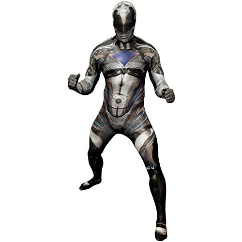 Official Black Deluxe Movie Power Ranger Morphsuit Fancy Dress Costume - size Large 5'3 - 5'9 (159cm - -