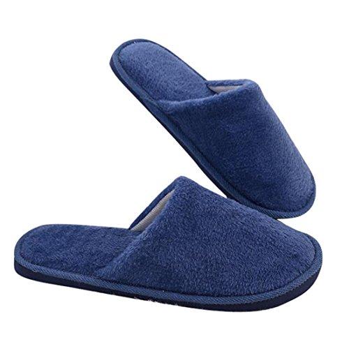 Pantoufle Pantoufles Peluche Bleu en Douce Coton Chaussons Marine Sfit en Mules BfwxZtt