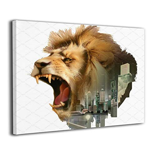 (POLKJIH Roaring Lion Head Creative Canvas Printings Art On The Wall Ready to Hang ForHome Decorations 20x16inch)