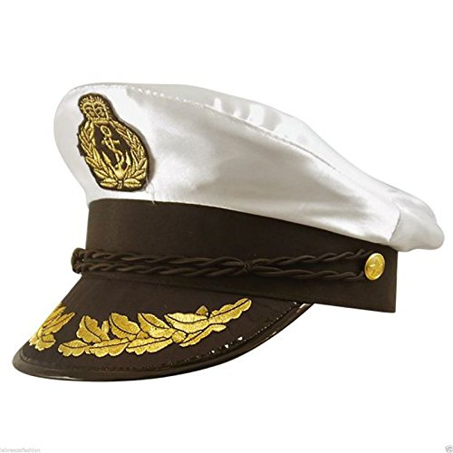 Quality Satin Captains Hat One Size Adult Naval Officer Fancy Dress Navy Sailor (White) (Officer Fancy Dress)