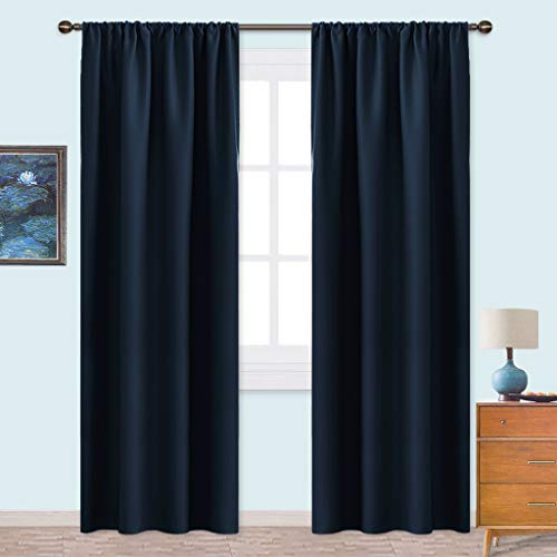 NICETOWN Thermal Curtains Blackout Draperies - Window Treatment Energy Saving Solid Blackout Rod Pocket Curtains/Drapes for Living Room (Navy Blue,1 Pair,42 by 84-Inch)