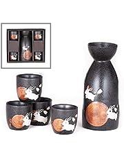 Happy Sales, Japansk stil sake-set med 3,5 dl porslin sake-Tokkuri-flaska karaff och fyra Ochokokokokokokokokokokokokoppar presentset (grå-månkaniner)