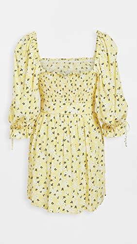 For Love & Lemons Women's Chrysanthemum Mini Dress, Lemonade, Yellow, Floral, Medium