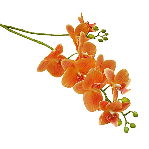 zzJiaCzs Artificial Butterfly Orchid,1Pc Faux Butterfly Orchid Flower Photograph Prop for Wedding Home Floral Decor - Orange
