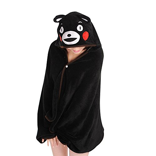KINOMOTO Anime Hooded Cloak Flannel Cape Hoodies for Sleep Nap Critter Blankets (Kumamon) ()