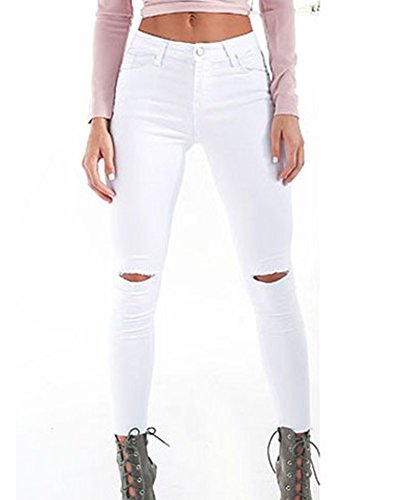 Donna Zhuikun Pantaloni Strappato Ginocchio Bianco Jeans Skinny Donne A Vita Alta Legging pqqgOw