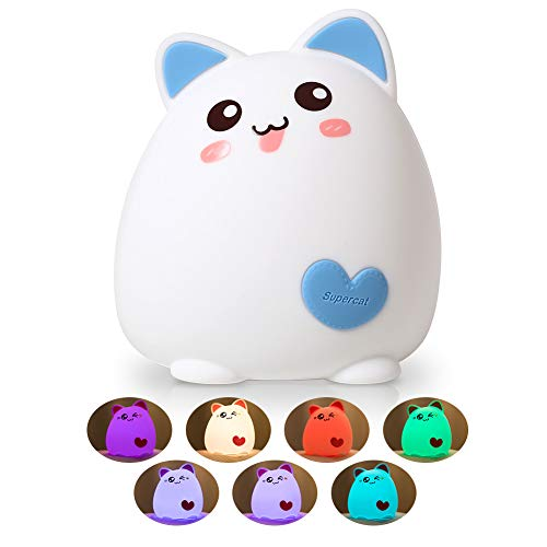 Baby Night Light, One Fire Nightlights for Children, Nursery Lamp, Night Light for Kids/Girls/Boys, Cute Kitty Baby Lamp, Soft Silicone Cat Toddler Night Light, Baby Girl Gifts,Birthday Gifts for ()