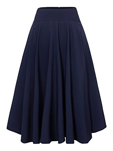 Women's Royal Blue Solid High Waist Trumpet Midi Skirt(3X, Royal Blue)