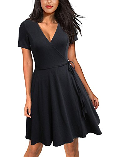 bb4399af7697 Lyrur Women's A Line Casual Fit and Flared Midi Wrap Dress with Pockets  Short Sleeve Skater(S,9035-Black)