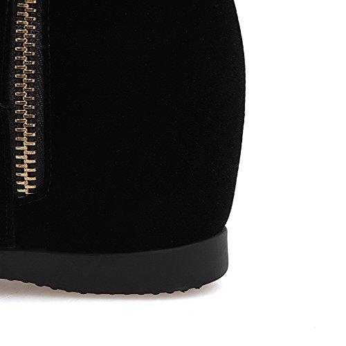 Mittler Reißverschluss Rein Stiefel Mattglasbirne Absatz Spitze Schwarz Damen Niedrig AllhqFashion 0w6p5p