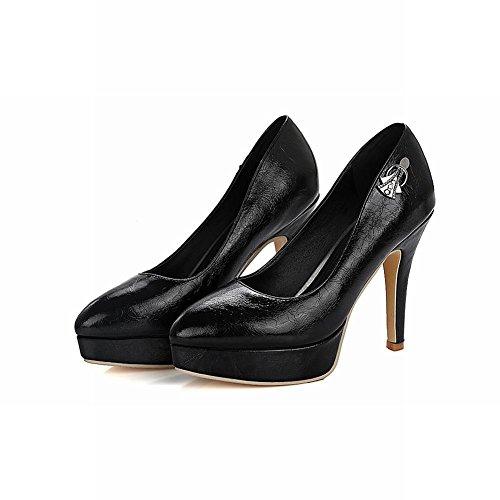 Carolbar Womens Bout Pointu Soirée Plate-forme Talons Hauts Pompes Chaussures Noir