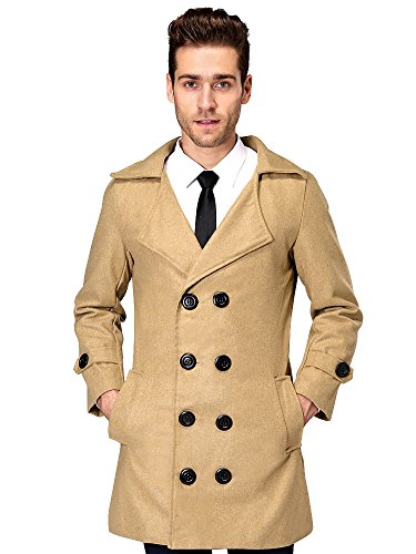 de lana Breasted cuello Down Marrón Hombres Turn Doble Overcoat Ochenta 0wnqY56S6