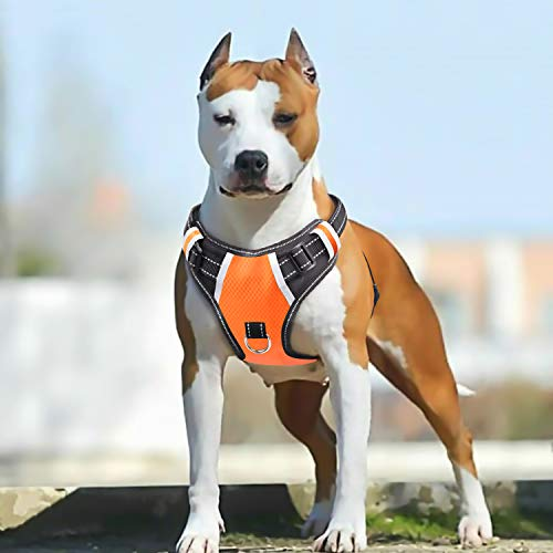 Big Dog Harness No Pull Adjustable Pet Reflective Oxford Soft Vest for Large Dogs Easy Control Harness (L, Orange)