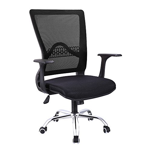 Cosway|Office Chair Black Mesh,Adjustable Height Ergonomic Flip up Armrest Executive for Conference&Home [US STOCK] (Black)