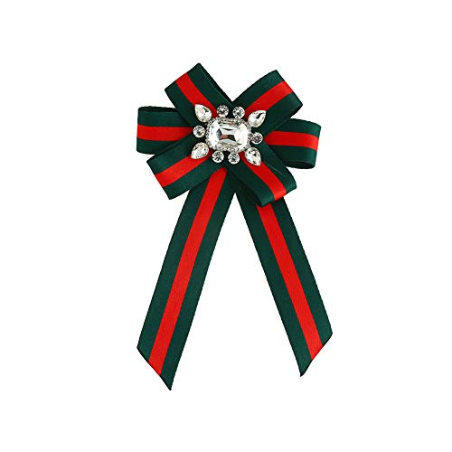 Ribbon Rhinestone Crystal Brooches Pin Bow Tie Wedding Party Bow Tie Ribbon Pre Tied Bow Collar Brooch Pin for Women & Girl (Green+Red) (Party Rhinestone Collar)