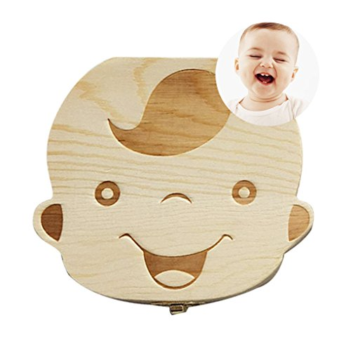 Baby Tooth Box First Curl Box First Haircut Keepsake Tooth Fairy Wooden Box Personalized Tooth Holder (boy)