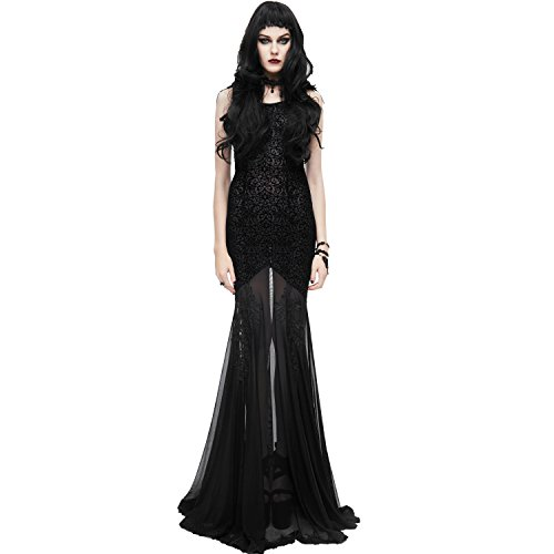 Eva Lady Black Sexy Gothic Goddess Mermaid Fishtail Prom Party Dress (Small)