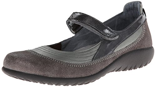 Naot Footwear Womens Kirei Mary Jane Flat Sterling Leather/Gray Shimmer Leather/Gray Patent Leather MjsiUkl