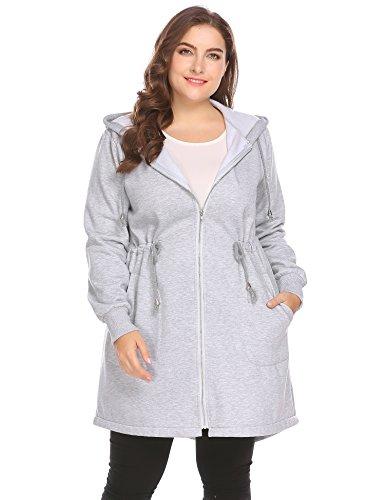 Zeagoo Women's Plus Size Casual Zip up Fleece Hoodies Long Tunic Hooded Sweatshirt Jacket Coat Outerwear With Pockets (Lined Plus Coat Size)