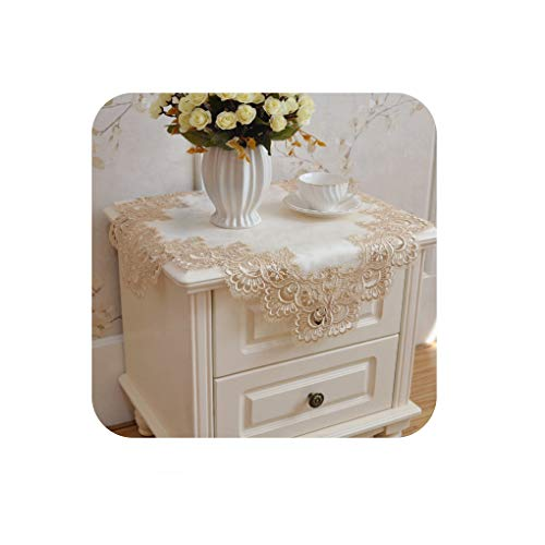 (Noon-Sunshine Elegant Lace Tablecloth for Wedding Party Home Daily Lace Satin Table Linen Cloth Cover Textile Decoration Towel,L51khaki,170x260cm rect )