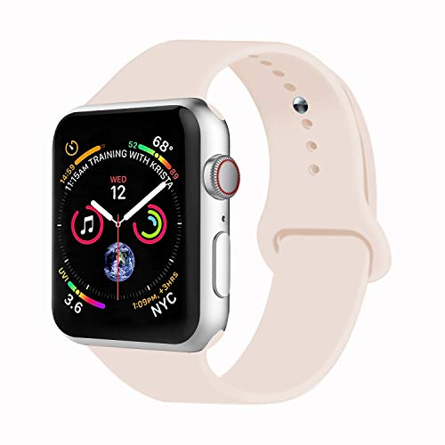 VATI Sport Watch Band Compatible with Watch 38mm 42mm 40mm 44mm, Soft Silicone Strap Replacement Bands Compatible with Watch Series 4/3/2/1 S/M M/L(Antique White,38mm S/M)