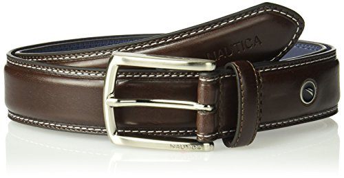 (Nautica Men's Feathered Edge with Double-Stitch Casual Leather Belt,Brown,54)