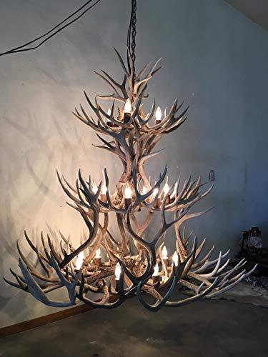 Real Shed Mule Deer Antler Chandelier. XXL extra wide triple tier.17-18 Lights. Cascading lighting with real Elk antler covers. Elegant Handmade, Rustic Antler Art.
