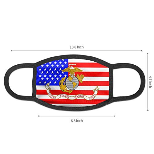 Ahamulda3 U.S. Marine Corps Military Flag Mouth Mask, Half Face Mask For Women Men And Kids, Unisex Novelty Mouth Mask, Anti Dust Mouth Muffle Cover