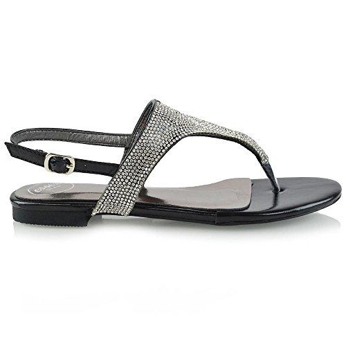 ESSEX GLAM Mujer Toe Post Diamante Slingback Metálico Sandalia Negro Metálico