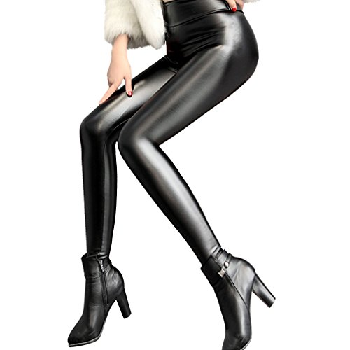 Metallic Figure Female (Retro Sexy Womens Black Faux Leather High Waisted Leggings Pants Tights Stretchy Comfy Apparel)
