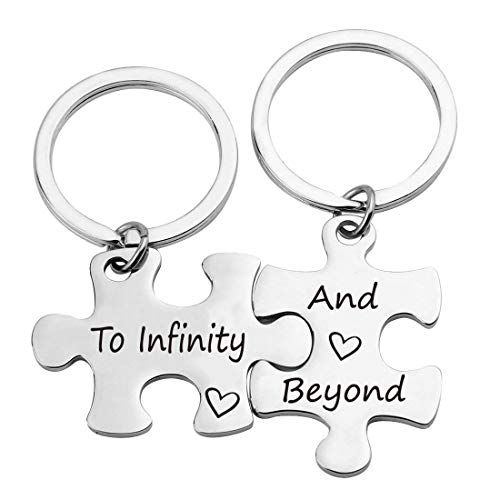 EIGSO Couple Keychain Set Puzzle Piece Keychains I Love You to Infinity and Beyond Puzzle Jewelry Couple Jewelry Gifts Disney Jewelry (Infinity Beyond KR)