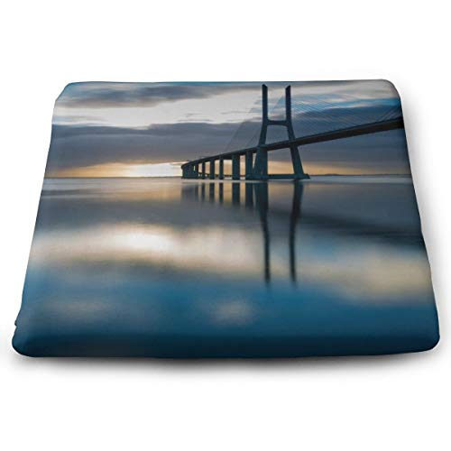 - Sanghing Customized Bridge Lisbon Portugal at Sunrise 15x13.7 in Square Cushion is Natural, Suitable for Home Office Dining Chair, Indoor and Outdoor Seat Cushion.