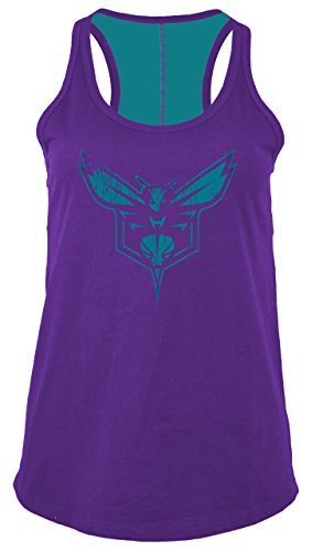 NBA Charlotte Hornets Women's Baby Jersey Racer Back Tank with Contrasting Back Yoke, Medium, Purple (Racer Tank Womens Team)