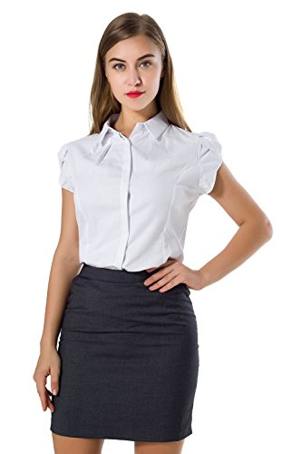 DkaoE Women's Cotton Button Down Work Shirt Short Sleeve Blouse White 12
