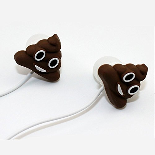 QearFun In Ear Wired 3.5 mm 3D Cute Cartoon Poop Joke Earphone/Earbuds/Headphones with Mic Hands-free for Apple,Samsung,HTC,Android Smartphones Mp3