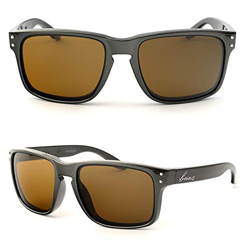 Bnus italy made classic sunglasses corning real glass lens w. polarized option (Pearl Grey Frame / B15 Lens, Polarized)