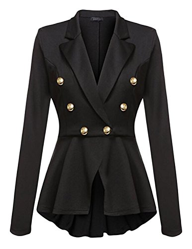 Cekaso Women's Peplum Blazer One Button Crop Frill Ruffle Hem High Low Work Blazer, Black, USsize XL=Tagsize XXL]()