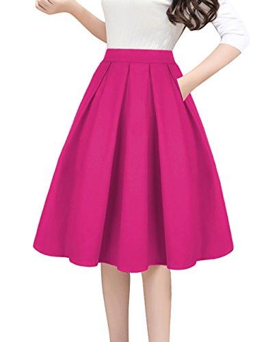 Tandisk Women's High Waist Flared Skirt Pleated Midi Skirt with Pocket Rose Red S